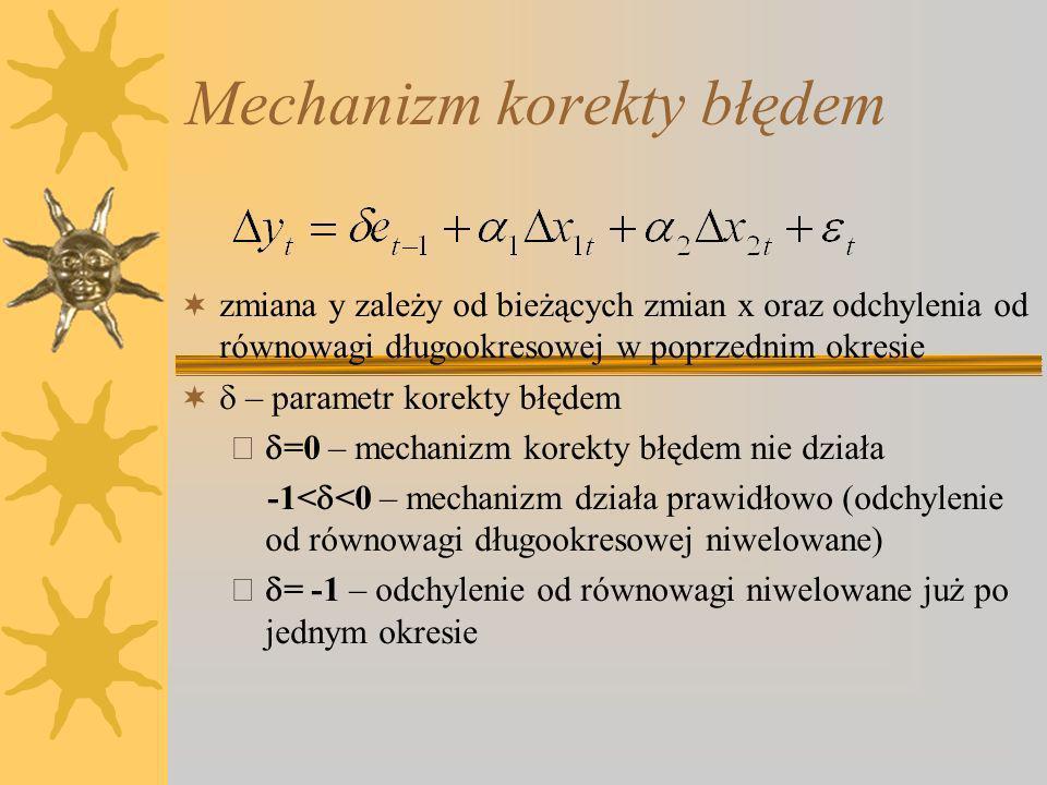 Mechanizm korekty błędem zmiana y zależy od bieżących zmian x oraz odchylenia od równowagi długookresowej w poprzednim okresie – parametr korekty błędem – =0 – mechanizm korekty błędem nie działa -1< <0 – mechanizm działa prawidłowo (odchylenie od równowagi długookresowej niwelowane) – = -1 – odchylenie od równowagi niwelowane już po jednym okresie