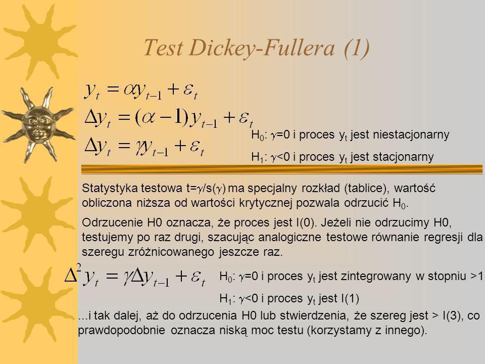 Test Dickey-Fullera (1) H 0 : =0 i proces y t jest niestacjonarny H 1 : <0 i proces y t jest stacjonarny Odrzucenie H0 oznacza, że proces jest I(0).