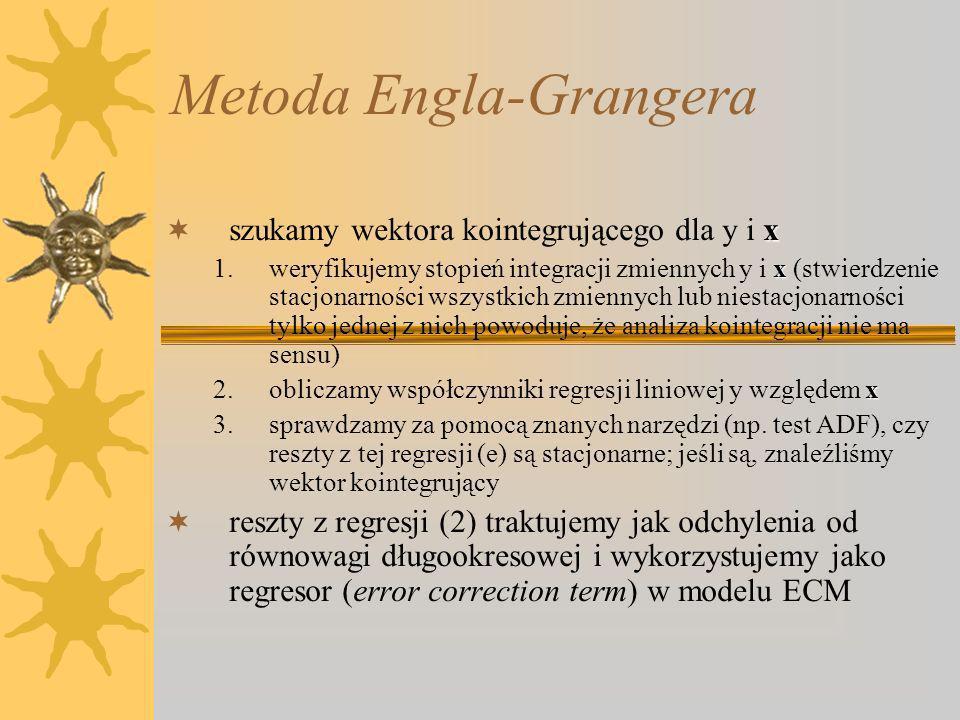 Metoda Engla-Grangera x szukamy wektora kointegrującego dla y i x x 1.weryfikujemy stopień integracji zmiennych y i x (stwierdzenie stacjonarności wszystkich zmiennych lub niestacjonarności tylko jednej z nich powoduje, że analiza kointegracji nie ma sensu) x 2.obliczamy współczynniki regresji liniowej y względem x 3.sprawdzamy za pomocą znanych narzędzi (np.