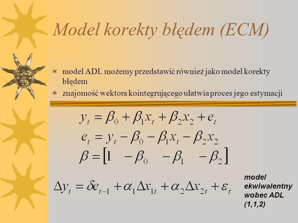 Model korekty błędem (ECM) model ADL możemy przedstawić również jako model korekty błędem znajomość wektora kointegrującego ułatwia proces jego estymacji model ekwiwalentny wobec ADL (1,1,2)