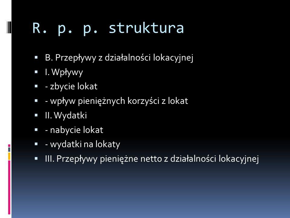 R.p. p. struktura B. Przepływy z działalności lokacyjnej I.