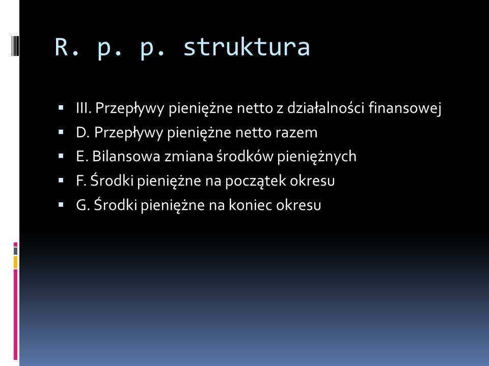 R.p. p. struktura III. Przepływy pieniężne netto z działalności finansowej D.