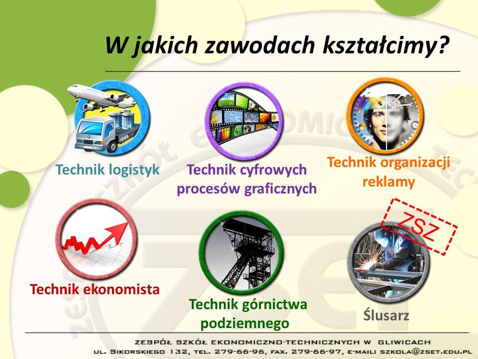 W jakich zawodach kształcimy? Technik logistyk Technik ekonomista Technik cyfrowych procesów graficznych Ślusarz Technik organizacji reklamy Technik g