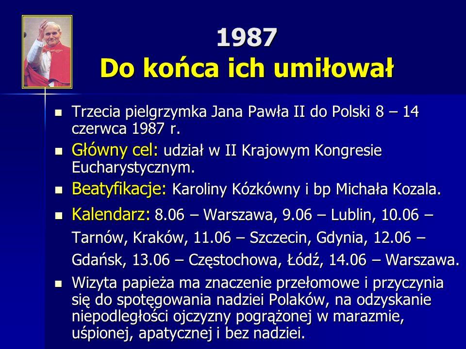 1987 Do końca ich umiłował Trzecia pielgrzymka Jana Pawła II do Polski 8 – 14 czerwca 1987 r. Trzecia pielgrzymka Jana Pawła II do Polski 8 – 14 czerw