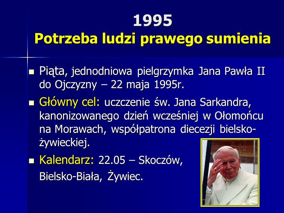 1995 Potrzeba ludzi prawego sumienia Piąta, jednodniowa pielgrzymka Jana Pawła II do Ojczyzny – 22 maja 1995r. Piąta, jednodniowa pielgrzymka Jana Paw