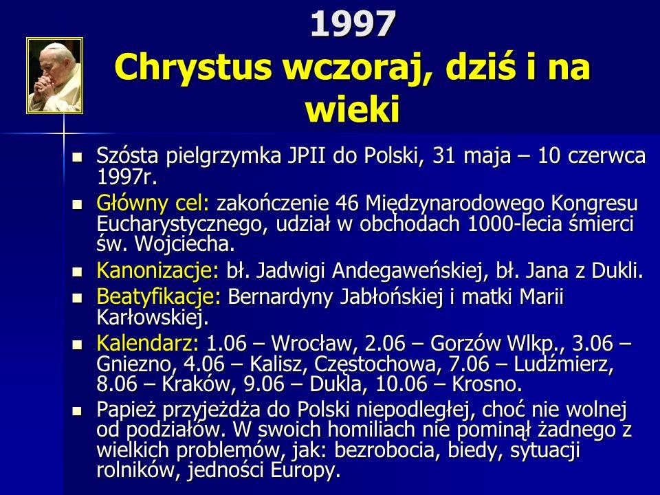 1997 Chrystus wczoraj, dziś i na wieki Szósta pielgrzymka JPII do Polski, 31 maja – 10 czerwca 1997r. Szósta pielgrzymka JPII do Polski, 31 maja – 10