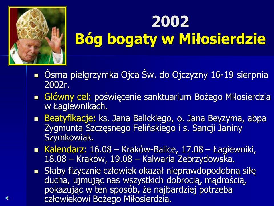 2002 Bóg bogaty w Miłosierdzie Ósma pielgrzymka Ojca Św. do Ojczyzny 16-19 sierpnia 2002r. Ósma pielgrzymka Ojca Św. do Ojczyzny 16-19 sierpnia 2002r.