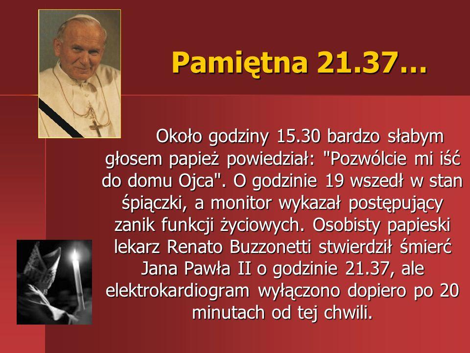 Pamiętna 21.37… Około godziny 15.30 bardzo słabym głosem papież powiedział: