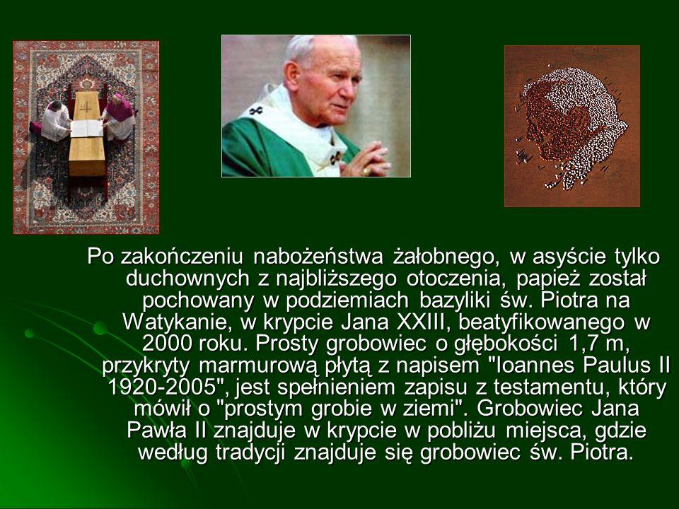 Po zakończeniu nabożeństwa żałobnego, w asyście tylko duchownych z najbliższego otoczenia, papież został pochowany w podziemiach bazyliki św. Piotra n