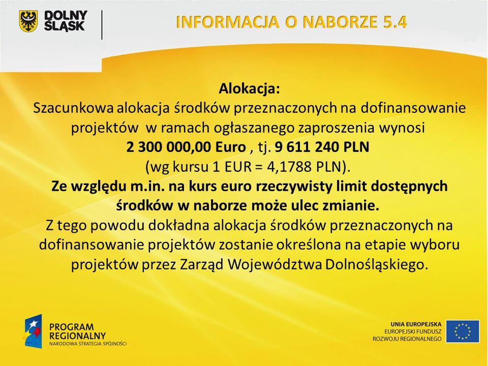 Alokacja: Szacunkowa alokacja środków przeznaczonych na dofinansowanie projektów w ramach ogłaszanego zaproszenia wynosi 2 300 000,00 Euro, tj.