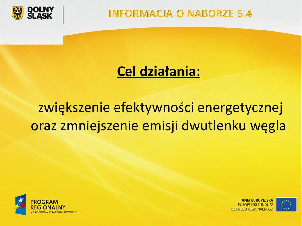 Cel działania: zwiększenie efektywności energetycznej oraz zmniejszenie emisji dwutlenku węgla