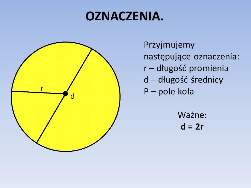 OZNACZENIA. Przyjmujemy następujące oznaczenia: r – długość promienia d – długość średnicy P – pole koła Ważne: d = 2r