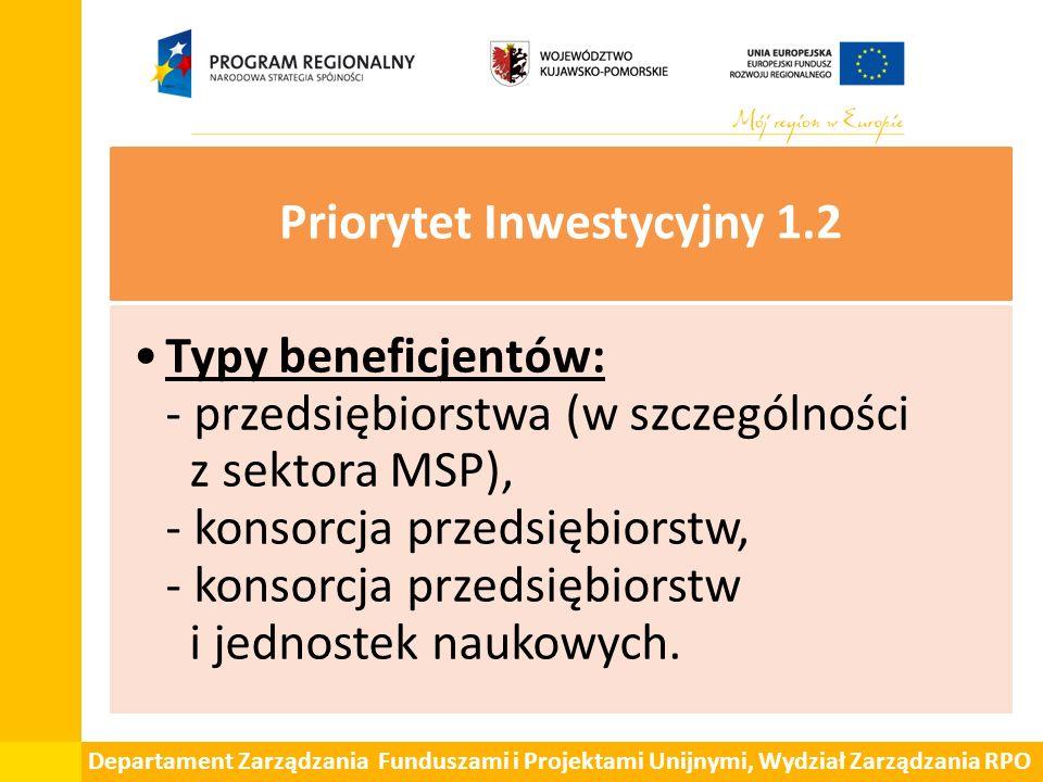 Departament Zarządzania Funduszami i Projektami Unijnymi, Wydział Zarządzania RPO Priorytet Inwestycyjny 1.2 Typy beneficjentów: - przedsiębiorstwa (w