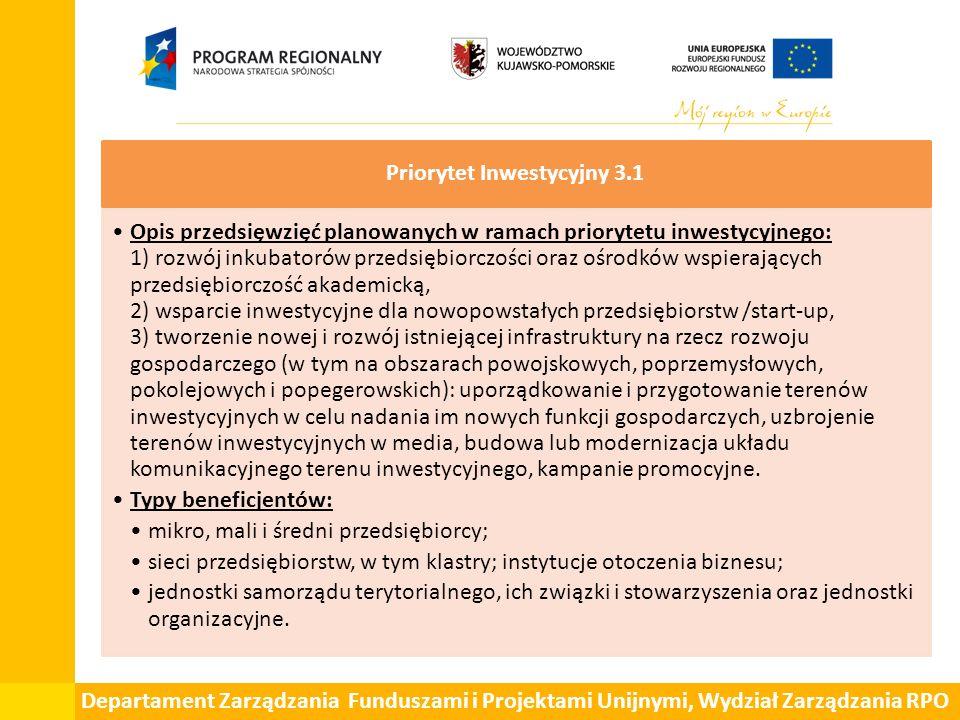 Departament Zarządzania Funduszami i Projektami Unijnymi, Wydział Zarządzania RPO Priorytet Inwestycyjny 3.1 Opis przedsięwzięć planowanych w ramach p