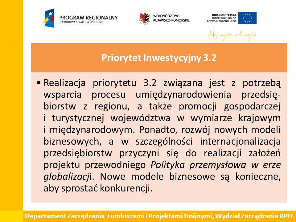 Departament Zarządzania Funduszami i Projektami Unijnymi, Wydział Zarządzania RPO Priorytet Inwestycyjny 3.2 Realizacja priorytetu 3.2 związana jest z