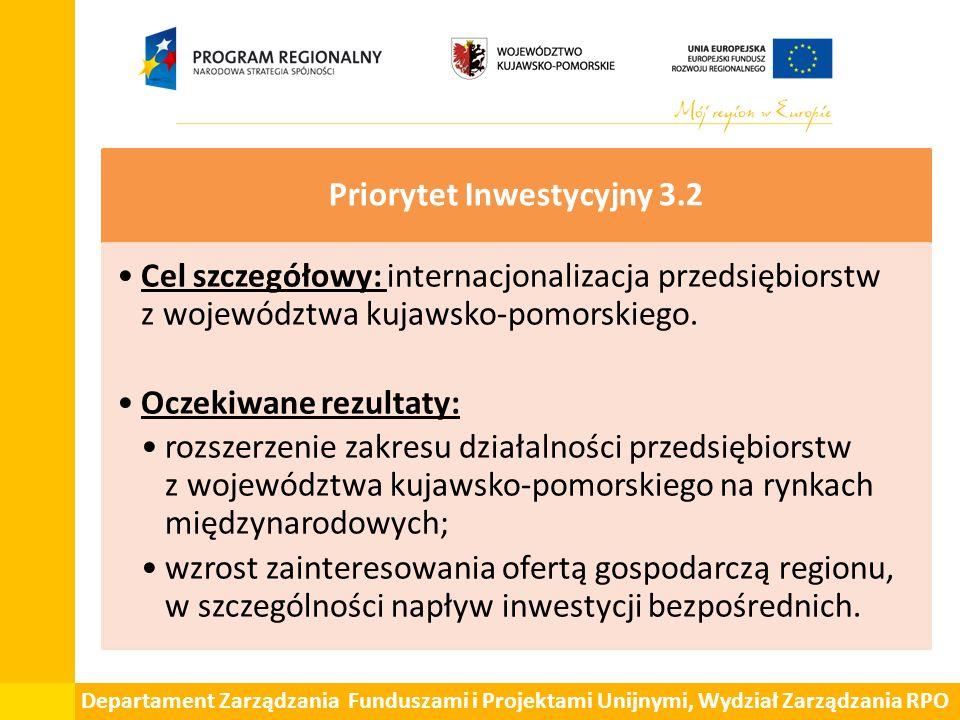 Departament Zarządzania Funduszami i Projektami Unijnymi, Wydział Zarządzania RPO Priorytet Inwestycyjny 3.2 Cel szczegółowy: internacjonalizacja prze