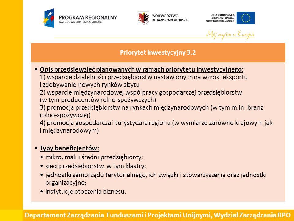 Departament Zarządzania Funduszami i Projektami Unijnymi, Wydział Zarządzania RPO Priorytet Inwestycyjny 3.2 Opis przedsięwzięć planowanych w ramach p