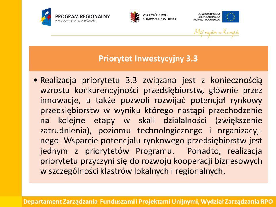 Departament Zarządzania Funduszami i Projektami Unijnymi, Wydział Zarządzania RPO Priorytet Inwestycyjny 3.3 Realizacja priorytetu 3.3 związana jest z