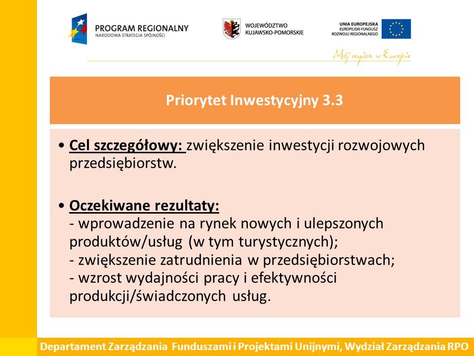 Departament Zarządzania Funduszami i Projektami Unijnymi, Wydział Zarządzania RPO Priorytet Inwestycyjny 3.3 Cel szczegółowy: zwiększenie inwestycji r