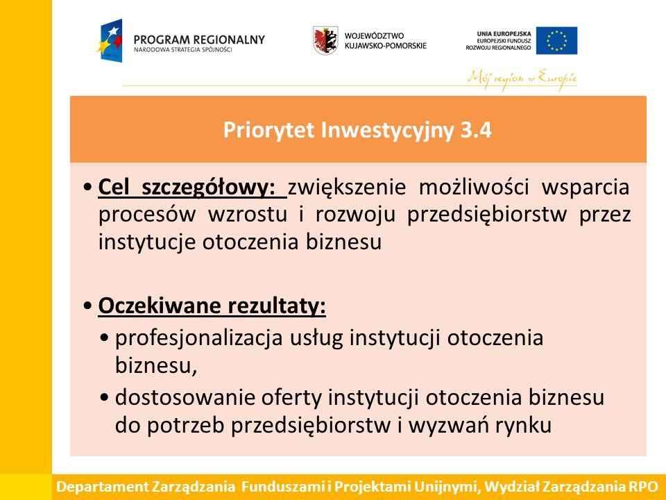 Departament Zarządzania Funduszami i Projektami Unijnymi, Wydział Zarządzania RPO Priorytet Inwestycyjny 3.4 Cel szczegółowy: zwiększenie możliwości w