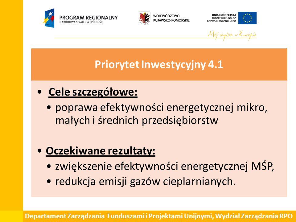 Departament Zarządzania Funduszami i Projektami Unijnymi, Wydział Zarządzania RPO Priorytet Inwestycyjny 4.1 Cele szczegółowe: poprawa efektywności en