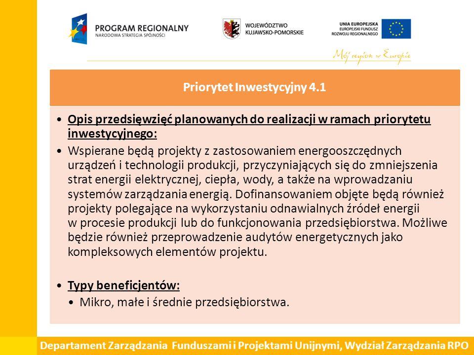 Departament Zarządzania Funduszami i Projektami Unijnymi, Wydział Zarządzania RPO Priorytet Inwestycyjny 4.1 Opis przedsięwzięć planowanych do realiza