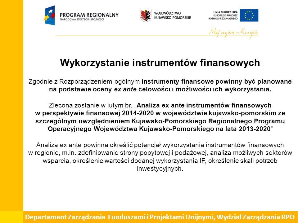 Wykorzystanie instrumentów finansowych Zgodnie z Rozporządzeniem ogólnym instrumenty finansowe powinny być planowane na podstawie oceny ex ante celowo