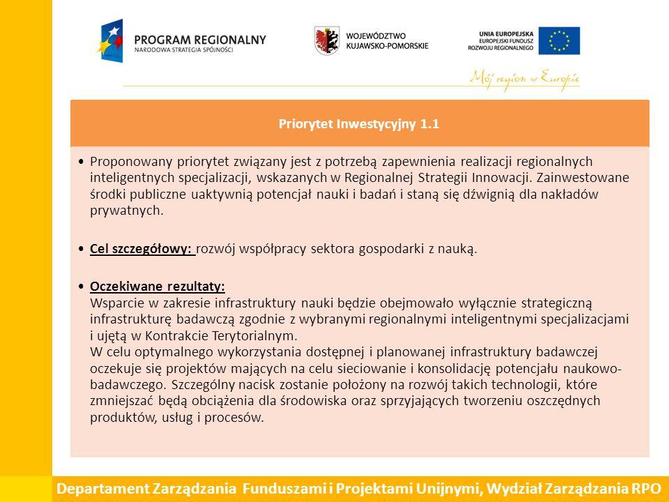 Departament Zarządzania Funduszami i Projektami Unijnymi, Wydział Zarządzania RPO Priorytet Inwestycyjny 1.1 Proponowany priorytet związany jest z pot