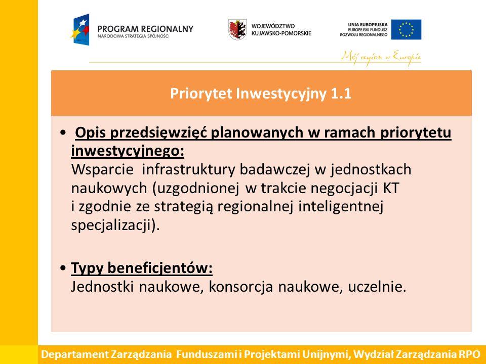 Departament Zarządzania Funduszami i Projektami Unijnymi, Wydział Zarządzania RPO Priorytet Inwestycyjny 1.1 Opis przedsięwzięć planowanych w ramach p