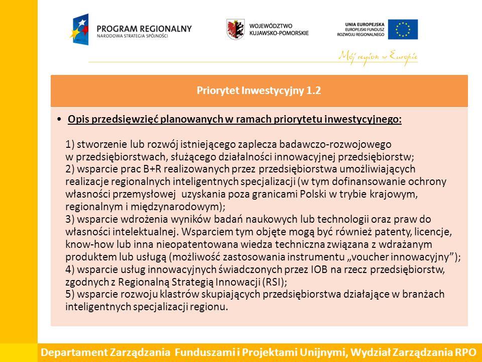 Departament Zarządzania Funduszami i Projektami Unijnymi, Wydział Zarządzania RPO Priorytet Inwestycyjny 1.2 Opis przedsięwzięć planowanych w ramach p