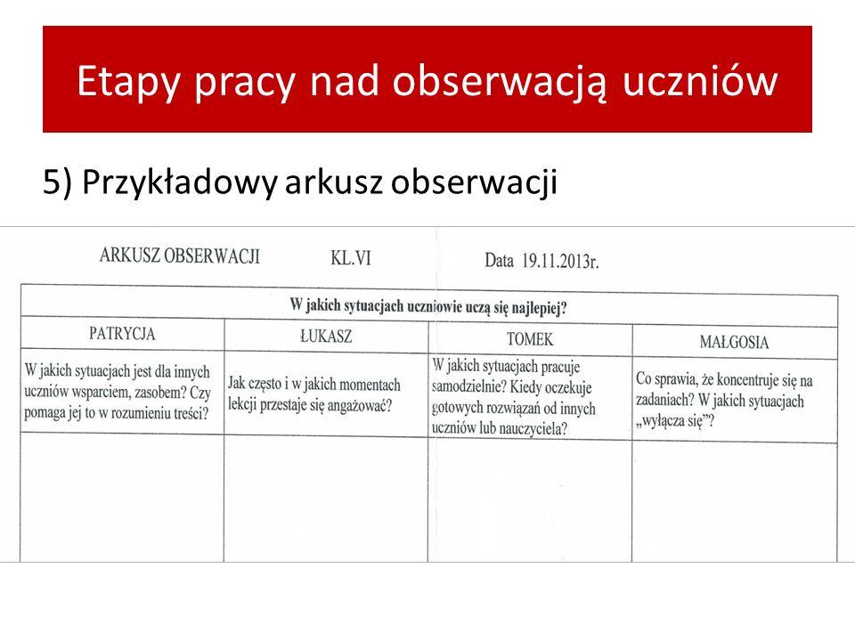 Etapy pracy nad obserwacją uczniów 5) Przykładowy arkusz obserwacji