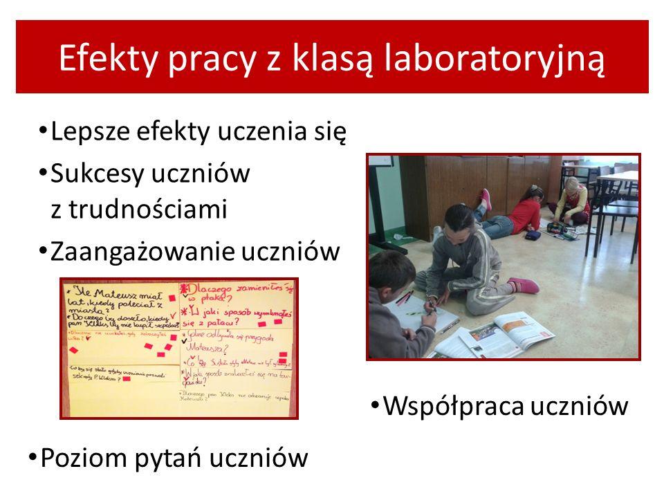 Efekty pracy z klasą laboratoryjną Lepsze efekty uczenia się Sukcesy uczniów z trudnościami Zaangażowanie uczniów Współpraca uczniów Poziom pytań uczn