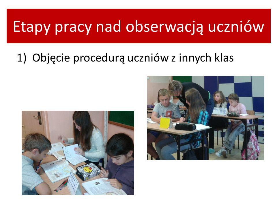 Etapy pracy nad obserwacją uczniów 1) Objęcie procedurą uczniów z innych klas