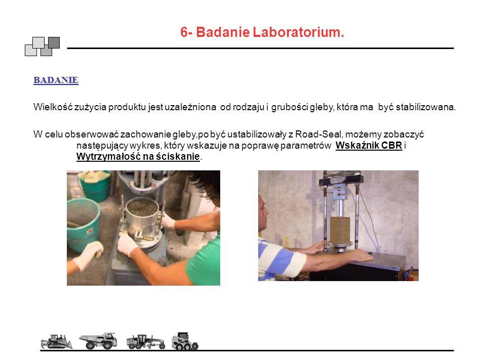 6- Badanie Laboratorium. BADANIE Wielkość zużycia produktu jest uzależniona od rodzaju i grubości gleby, która ma być stabilizowana. W celu obserwować