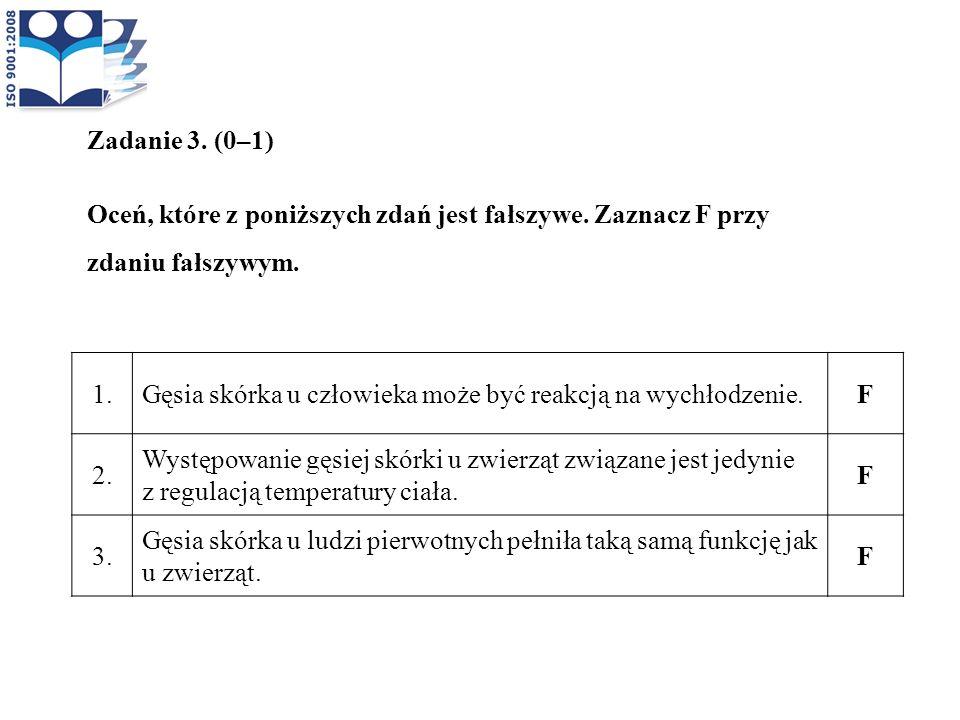 Zadanie 3. (0–1) Oceń, które z poniższych zdań jest fałszywe. Zaznacz F przy zdaniu fałszywym. 1.Gęsia skórka u człowieka może być reakcją na wychłodz