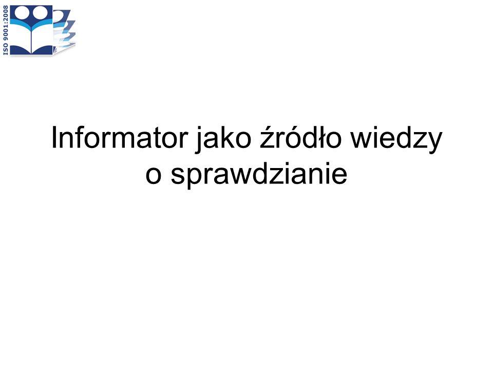 Informator jako źródło wiedzy o sprawdzianie