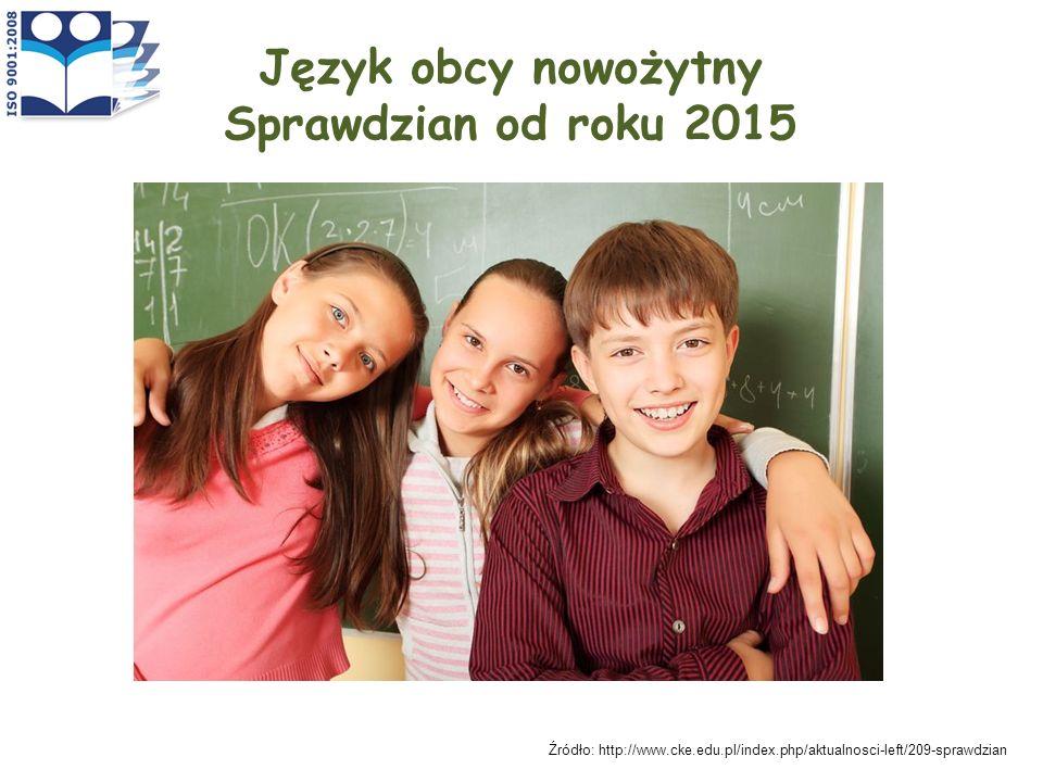 Język obcy nowożytny Sprawdzian od roku 2015 Źródło: http://www.cke.edu.pl/index.php/aktualnosci-left/209-sprawdzian