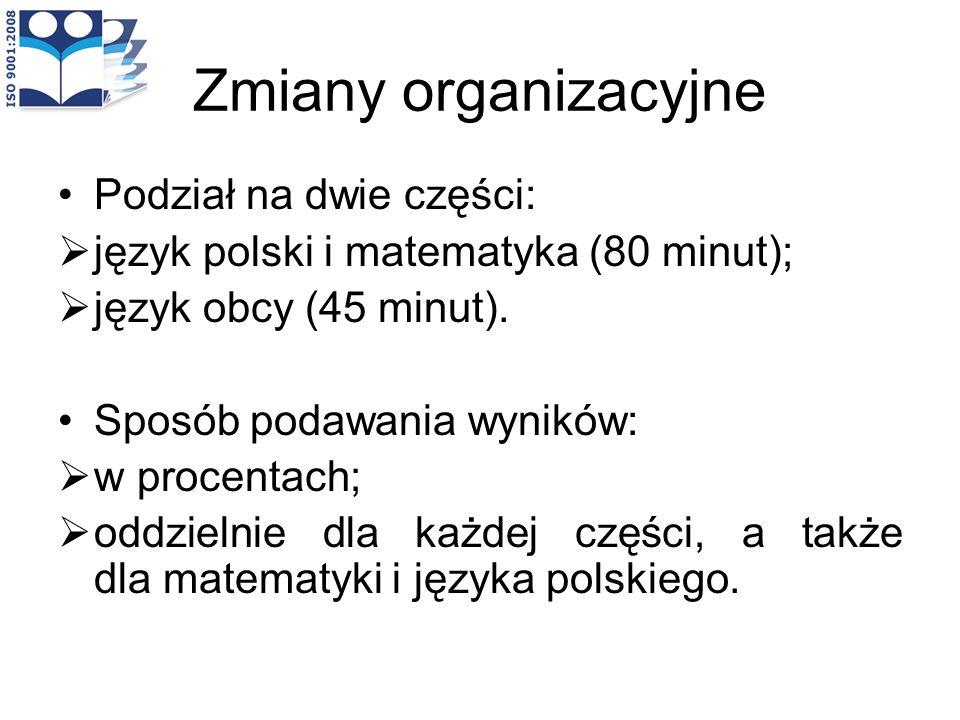 Zmiany organizacyjne Podział na dwie części: język polski i matematyka (80 minut); język obcy (45 minut). Sposób podawania wyników: w procentach; oddz