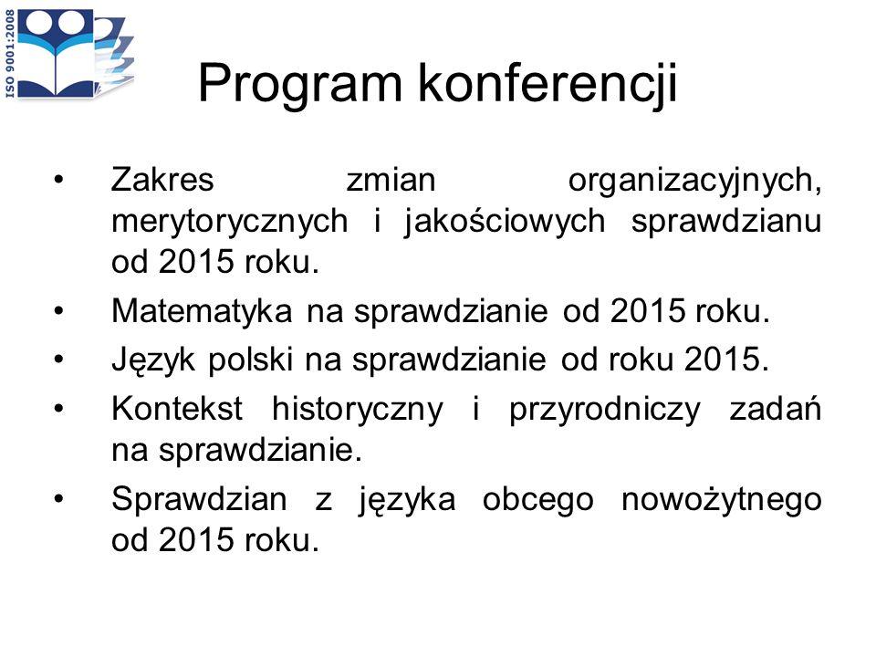 Program konferencji Zakres zmian organizacyjnych, merytorycznych i jakościowych sprawdzianu od 2015 roku. Matematyka na sprawdzianie od 2015 roku. Jęz