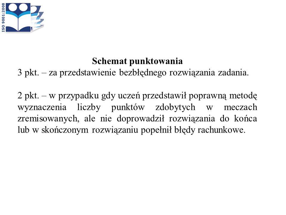 Schemat punktowania 3 pkt. – za przedstawienie bezbłędnego rozwiązania zadania. 2 pkt. – w przypadku gdy uczeń przedstawił poprawną metodę wyznaczenia