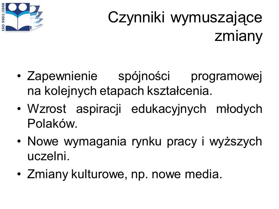 Czynniki wymuszające zmiany Zapewnienie spójności programowej na kolejnych etapach kształcenia. Wzrost aspiracji edukacyjnych młodych Polaków. Nowe wy