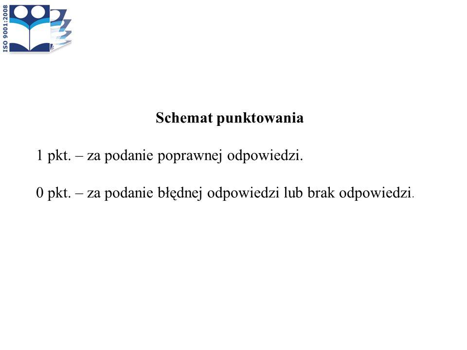 Schemat punktowania 1 pkt. – za podanie poprawnej odpowiedzi. 0 pkt. – za podanie błędnej odpowiedzi lub brak odpowiedzi.
