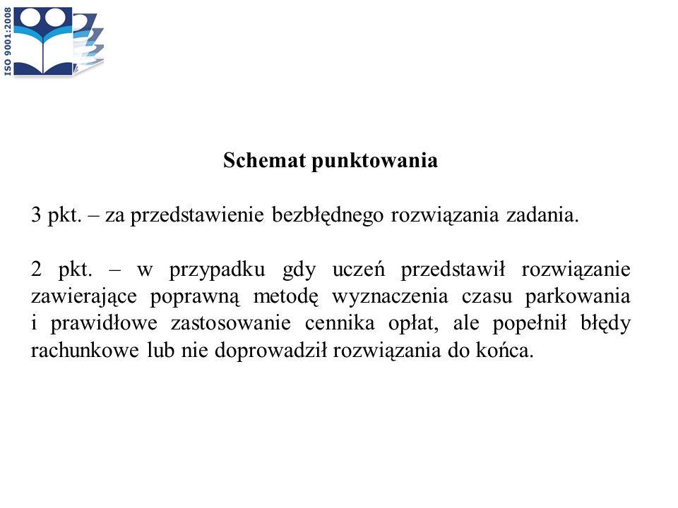 Schemat punktowania 3 pkt. – za przedstawienie bezbłędnego rozwiązania zadania. 2 pkt. – w przypadku gdy uczeń przedstawił rozwiązanie zawierające pop
