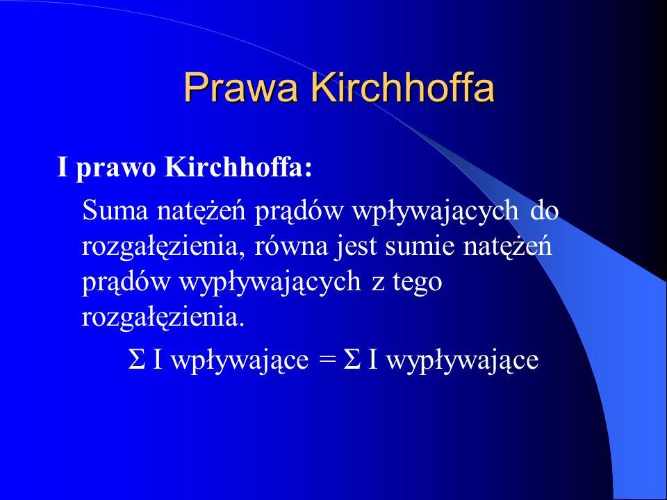 Prawa Kirchhoffa Prawa Kirchhoffa I prawo Kirchhoffa: Suma natężeń prądów wpływających do rozgałęzienia, równa jest sumie natężeń prądów wypływających