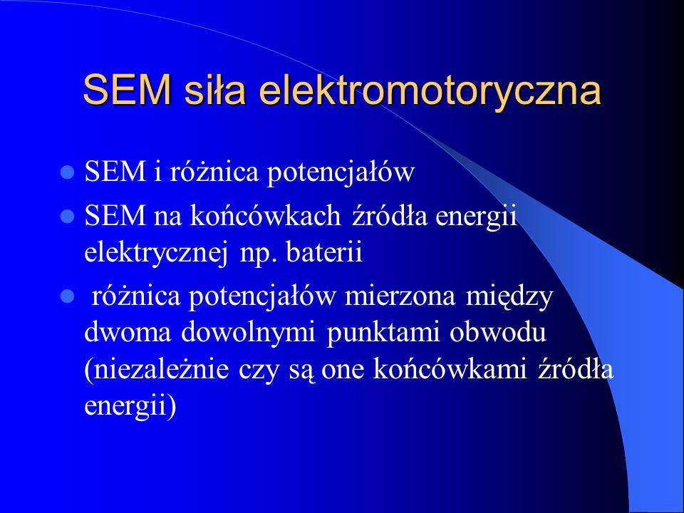 SEM siła elektromotoryczna SEM i różnica potencjałów SEM na końcówkach źródła energii elektrycznej np. baterii różnica potencjałów mierzona między dwo