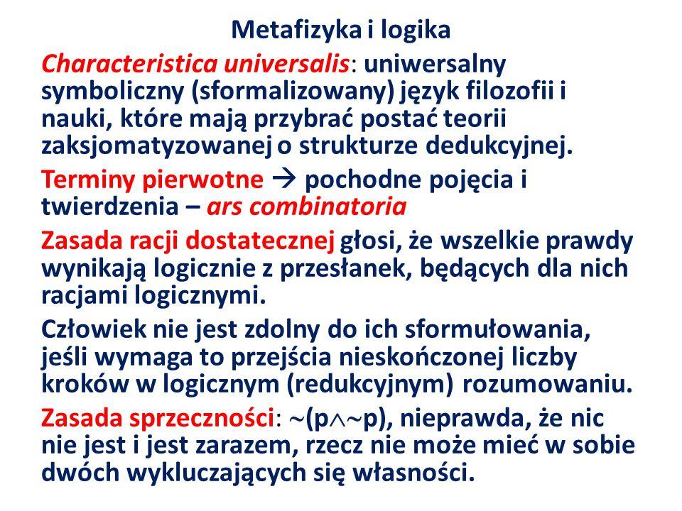 Metafizyka i logika Characteristica universalis: uniwersalny symboliczny (sformalizowany) język filozofii i nauki, które mają przybrać postać teorii z