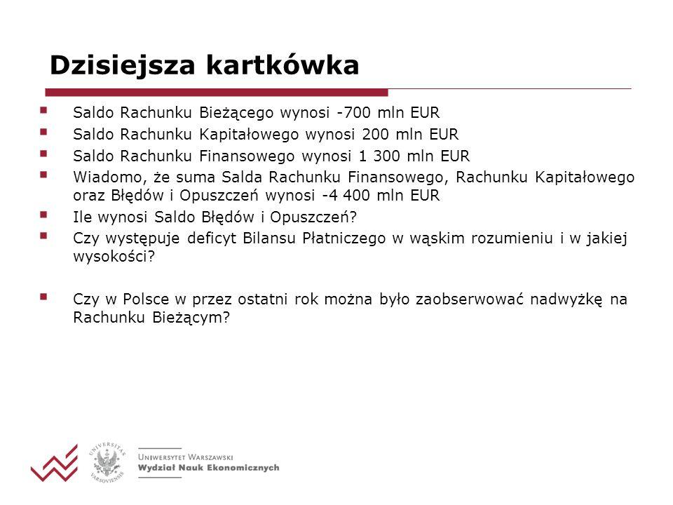 Dzisiejsza kartkówka Saldo Rachunku Bieżącego wynosi -700 mln EUR Saldo Rachunku Kapitałowego wynosi 200 mln EUR Saldo Rachunku Finansowego wynosi 1 3