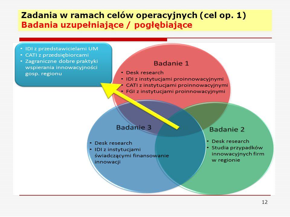 Zadania w ramach celów operacyjnych (cel op. 1) Badania uzupełniające / pogłębiające 12