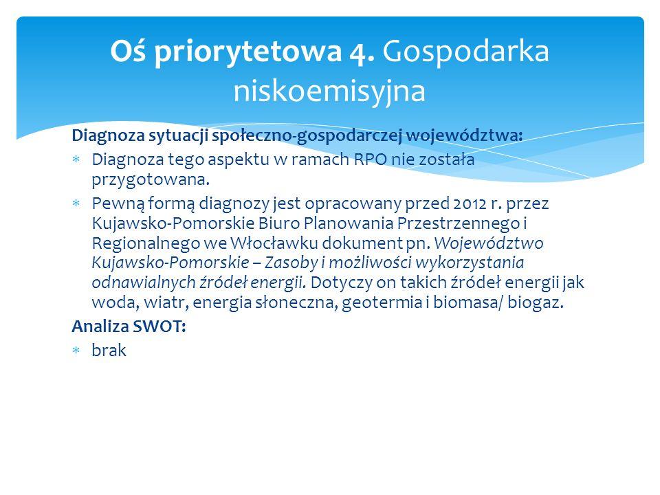 Diagnoza sytuacji społeczno-gospodarczej województwa: Diagnoza tego aspektu w ramach RPO nie została przygotowana. Pewną formą diagnozy jest opracowan