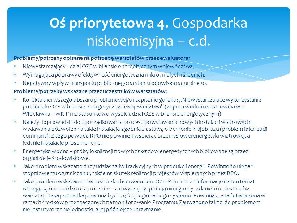 Problemy/potrzeby opisane na potrzebę warsztatów przez ewaluatora: Niewystarczający udział OZE w bilansie energetycznym województwa, Wymagająca popraw
